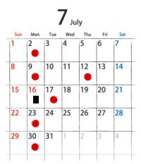 7月のお知らせ